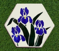 stained glass stepping stone - triple iris's hexagon