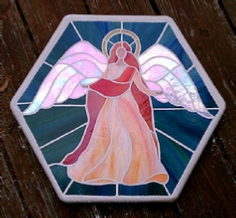 stained glass angel stepping stone