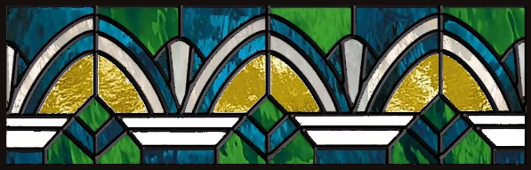Art Deco stained glass transom