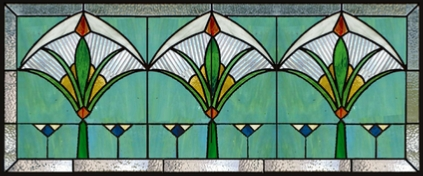 Stained glass art deco transom