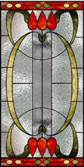 Nouveau stained glass window style 18