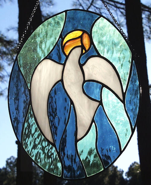 ascending dove stained glass panel