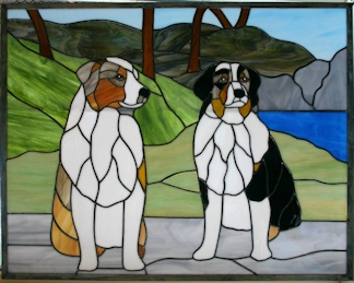 australian shephards - stained glass pet portrait