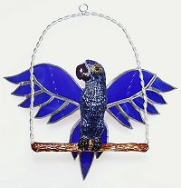 blue parrot with stained glass wings