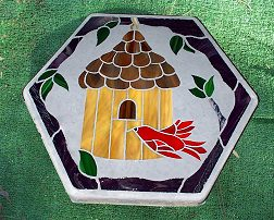 birdhouse hexagon stone red bird