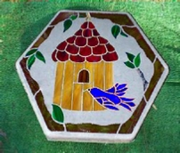 birdhouse stepping stone