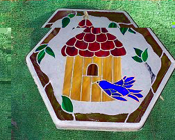 birdhouse stepping stone blue bird