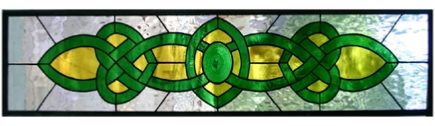 Celtic stained glass transom