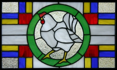stained glass panel - white laying hen