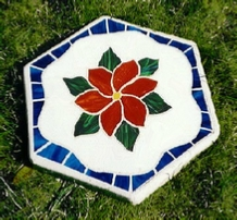 red clematis mosaic stone