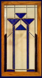 contemporary stained glass panel blue
