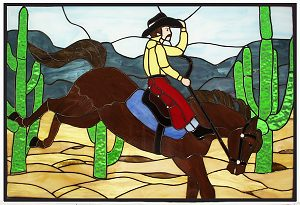 horse and cowboy stained glass window