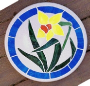 Daffodil stained glass mosaic stone