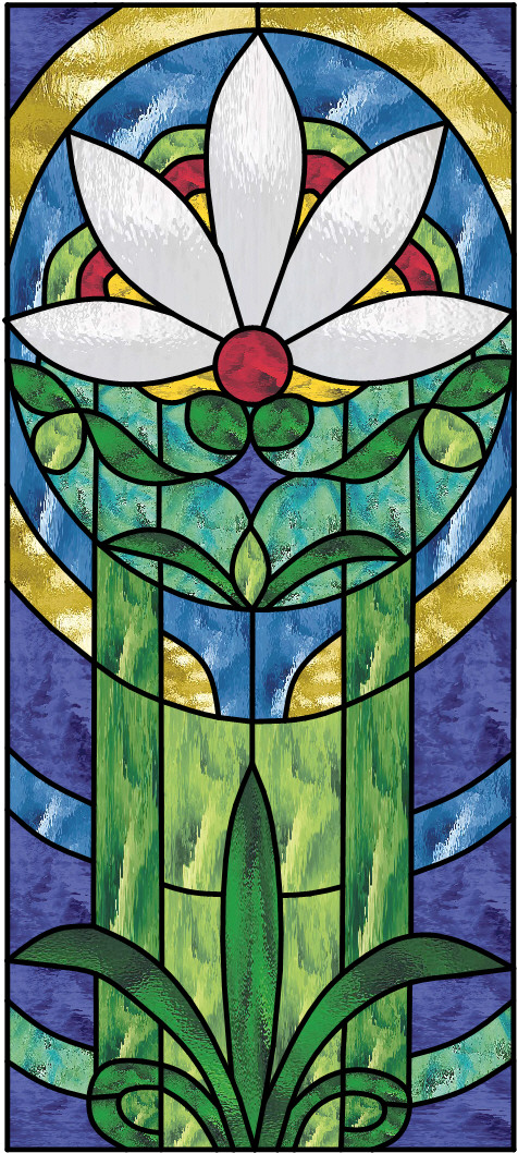 daisy stained glass window panel