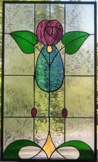 Art Deco Rose stained glass window