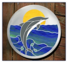 Dolphin stained glass stepping stone