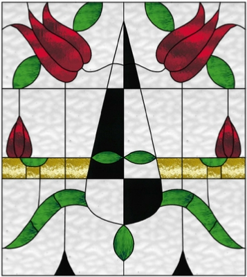 double tulips stained glass window