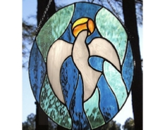 stained glass oval dove panel