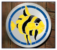 Striped Fish stained glass stepping stone