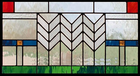 geometric stained glass transom