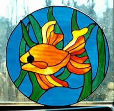 goldfish stained glass window
