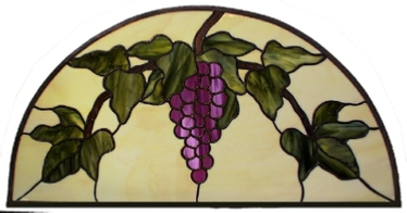 Grapevine stained glass arched transom