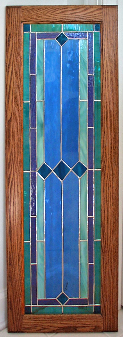 traditional stained glass cabinet panel