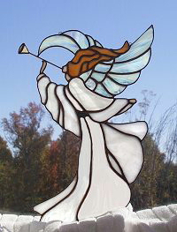 heralding angel irridized glass wings