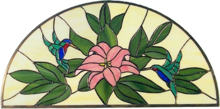 hummingbird & lily arched transom