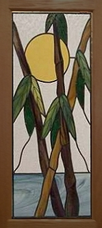 bamboo cabinet panel stained glass