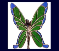 green and blue glass wings