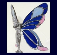 pink and dark blue glass wings