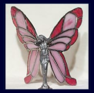 pink and red butterfly glass wings