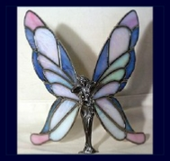 pink and blue stained glass wings