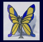 blue and yellow stained glass wings