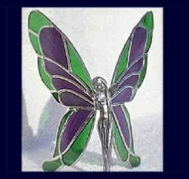 purple and green stained glass wings