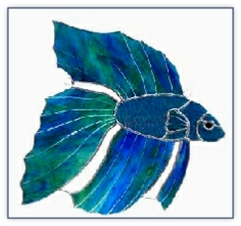 blue beta fish suncatcher