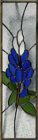 stained glass blue bonnet panel
