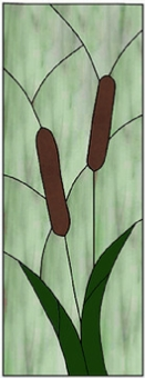 cattails stained glass panel