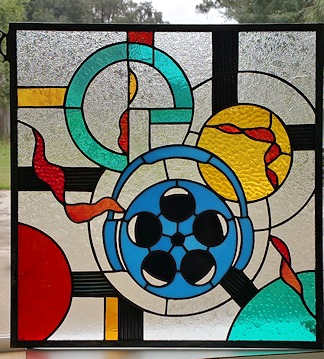abstract music stained glass