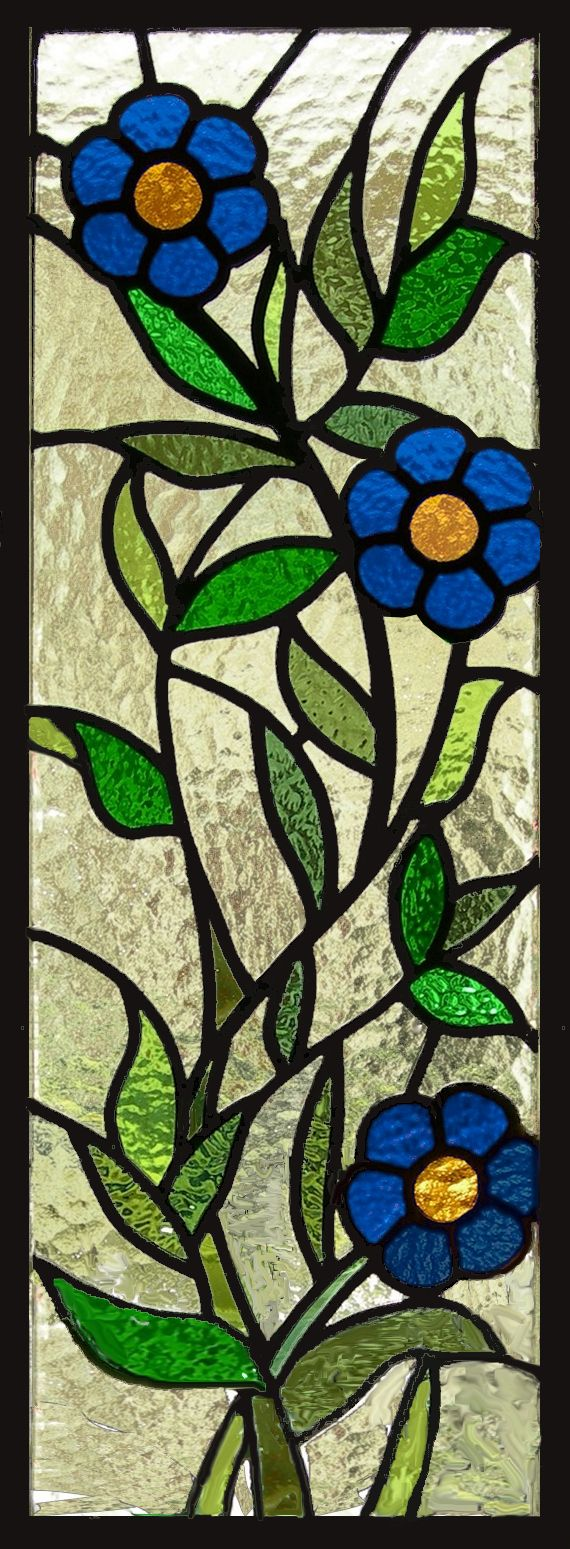stained glass daisy window panel