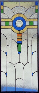 art deco traditional stained glass window