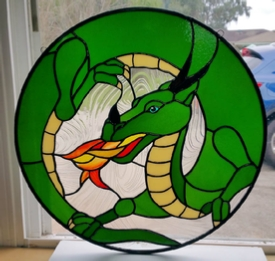 dragon stained glass panel