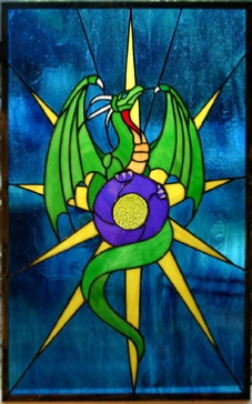 dragon stained glass window panel