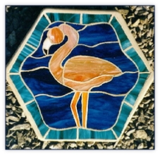 Flamingo stained glass stepping stone