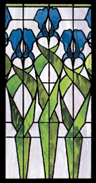 floral 185 iris stained glass panel