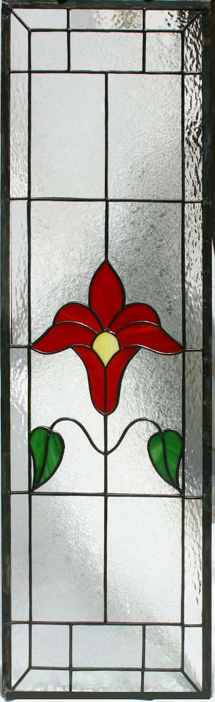 stained glass flower panel - cabinet insert