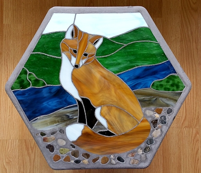 fox - stained glass stepping stone
