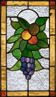 stained glass window with fruit