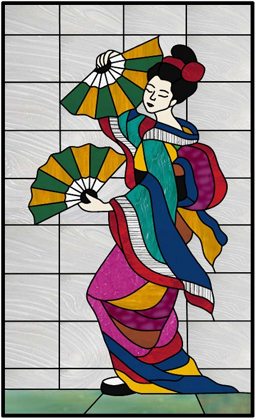 Geisha stained glass window panel